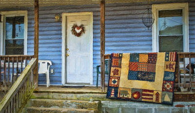 Quilt On The Front Porch Art Print by Kathy Jennings