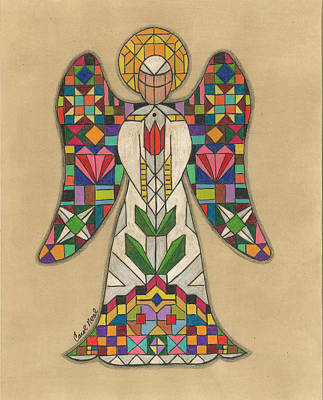 Drawing - Quilted Angel by Carol Neal