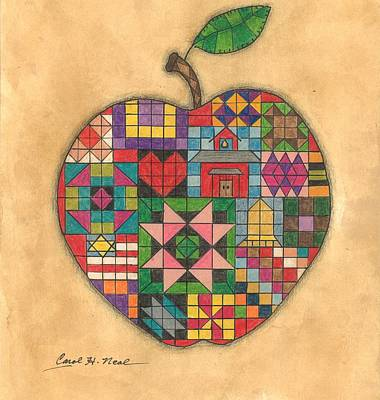 Drawing - Quilted Apple by Carol Neal
