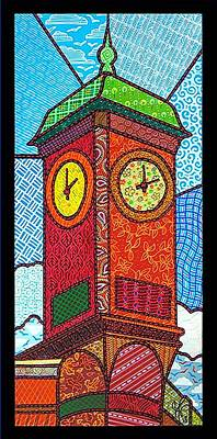 Quilted Clock Tower Art Print by Jim Harris