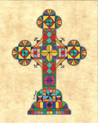 Drawing - Quilted Cross by Carol Neal