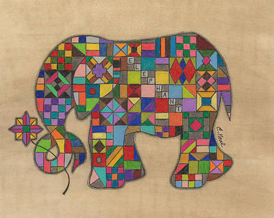 Quilts Drawing - Quilted Elephant by Carol Neal
