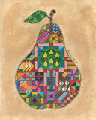 Drawing - Quilted Pear by Carol Neal