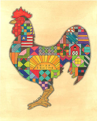Drawing - Quilted Rooster by Carol Neal