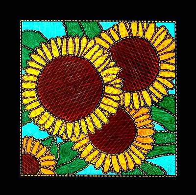 Quilted Sunflowers Art Print by Jim Harris
