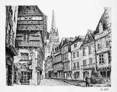 Quimper - Black Ink Art Print by Nicolas Jolly