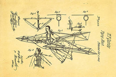 Quinby Flying Machine Patent Art 1869 Art Print by Ian Monk