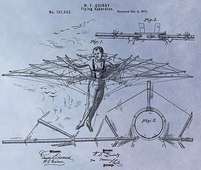 Vesna Antic Abstract Paintings - Quinby Flying Machine Patent by Dan Sproul