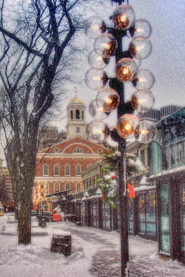 Photograph - Quincy Market Flurries by Joann Vitali