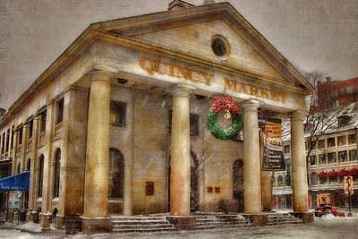 Quincy Market Snow 2 Art Print by Joann Vitali