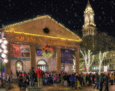 Photograph - Quincy Market Snow - Boston by Joann Vitali