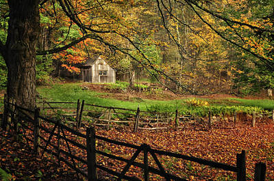Photograph - Rustic Shack- New England Autumn  by Expressive Landscapes Fine Art Photography by Thom