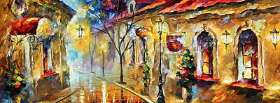 Old Street Painting - Quite Morning by Leonid Afremov