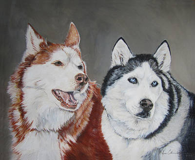 Iditarod Painting - Quite The Pair by Renee Catherine Wittmann