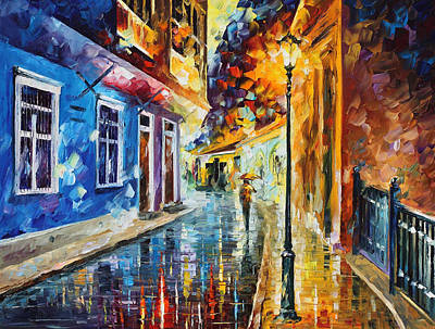 Quito Ecuador - Palette Knife Oil Painting On Canvas By Leonid Afremov Original by Leonid Afremov