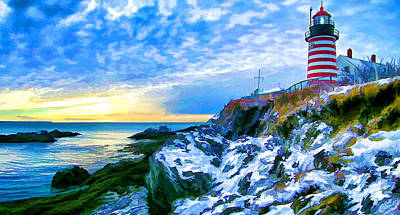 Quoddy Head Lighthouse In Winter 3 Print by ABeautifulSky Photography