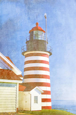 Maine Landscapes Digital Art - Quoddy Lighthouse Lubec Maine by Carol Leigh