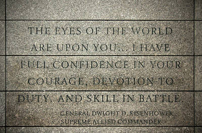 Photograph - Quote Of Eisenhower In Normandy American Cemetery And Memorial by RicardMN Photography