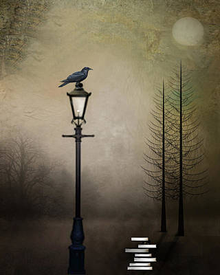 Street Lamps Digital Art - Quote The Raven by Charlene Murray Zatloukal