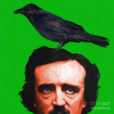 Haunted Digital Art - Quoth The Raven Nevermore - Edgar Allan Poe - Painterly - Green - Square by Wingsdomain Art and Photography