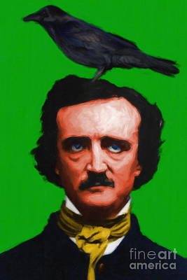 Quoth The Raven Nevermore - Edgar Allan Poe - Painterly - Green - Standard Size Art Print by Wingsdomain Art and Photography