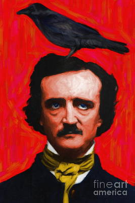 Portraits Digital Art - Quoth The Raven Nevermore - Edgar Allan Poe - Painterly - Red - Standard Size by Wingsdomain Art and Photography