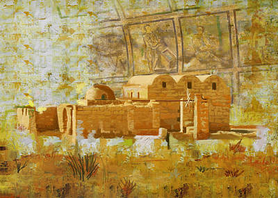 Wadi Rum Painting - Quseir E Amra by Catf