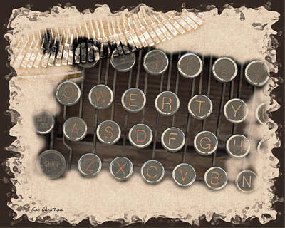Antique Typewriter Digital Art - Qwerty Old Style by Kae Cheatham