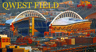Seattle Seahawks Painting - Qwest Field Seattle by David Lee Thompson