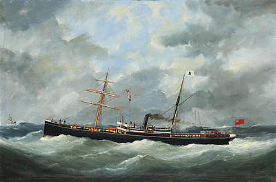 R. Bell And Co.s Steamship Bothal In A Heavy Swell Print by Edouard Adam