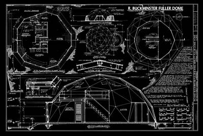 Historic Buildings Drawings Digital Art - R. Buckminster Fuller Geodesic Dome Home by Daniel Hagerman