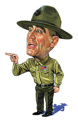 Comics Royalty-Free and Rights-Managed Images - R. Lee Ermey as Gunnery Sergeant Hartman by Art