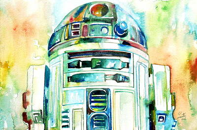 Watercolor Wall Art - Painting - R2-d2 Watercolor Portrait by Fabrizio Cassetta