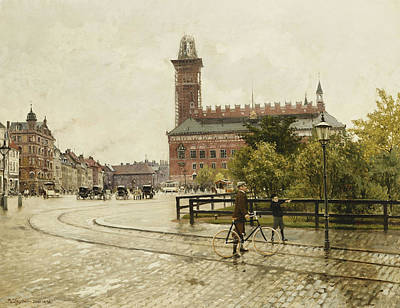 Raadhuspladsen, Copenhagen, 1893 Oil On Canvas Art Print by Paul Fischer