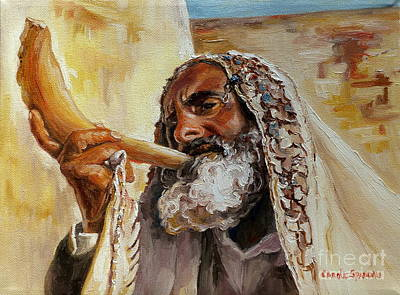 Ten Commandments Painting - Rabbi Blowing Shofar by Carole Spandau