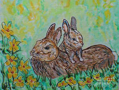 Painting - Rabbit And Baby Kitten  by Ella Kaye Dickey