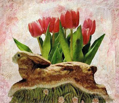 Rabbit And Pink Tulips Art Print