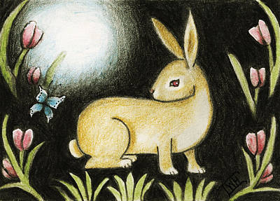 Rabbit And The Butterfly . . . From The Tapestry Series Art Print by Terry Webb Harshman