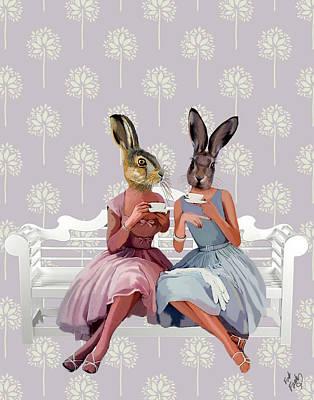 Chatting Digital Art - Rabbit Chat by Kelly McLaughlan