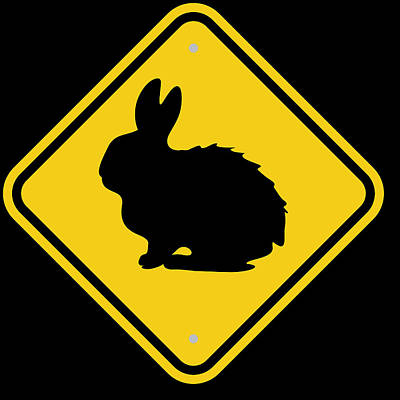 Rabbit Digital Art - Rabbit Crossing Sign by Marvin Blaine