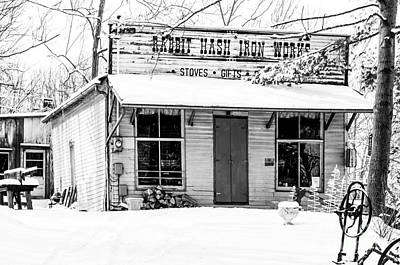 Photograph - Rabbit Hash Iron Works Bw by Mary Carol Story