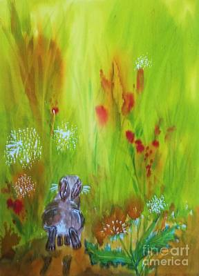 Painting - Rabbit Hopping Through The Wildflowers by Ellen Levinson