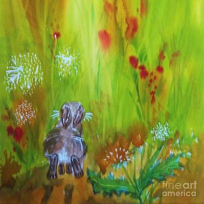 Painting - Rabbit Hopping Through The Wildflowers - Square by Ellen Levinson
