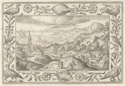 Rabbit Hunting, Adriaen Collaert, Eduwart Van Hoeswinckel Print by Adriaen Collaert And Eduwart Van Hoeswinckel