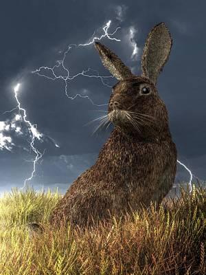 Rabbit In A Lightning Storm Art Print by Daniel Eskridge