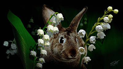 Digital Art - Rabbit In The Lilies by IM Spadecaller