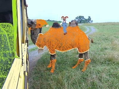 Camel Mixed Media - Rabbit On A Camel by Joan Shortridge