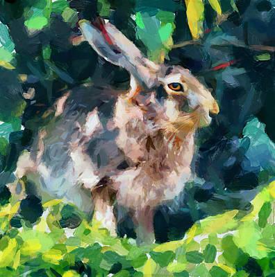 House Pet Digital Art - Rabbit On Alert by Yury Malkov