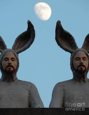 Photograph - Rabbit People On A Roof In New Orleans Louisiana Moon View #3 by Michael Hoard