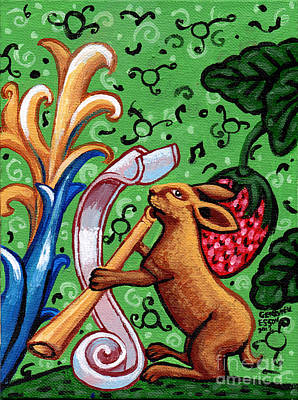 Eco-art Painting - Rabbit Plays The Flute by Genevieve Esson